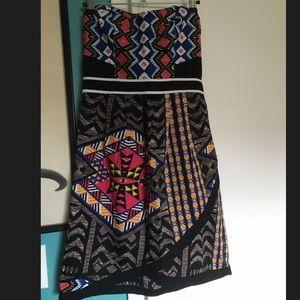 xhilaration Strapless tribal Hawaiian dress Size M